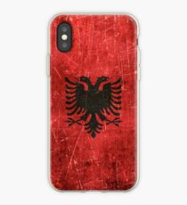 Vintage Aged and Scratched Albanian Flag iPhone Case