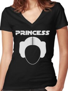 Star Wars Princess Leia Carrie Fisher white Women's Fitted V-Neck T-Shirt