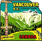 Vancouver BC Stanley Park Vintage Travel Decal by hilda74