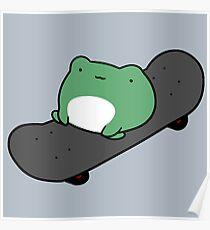 Skateboarding Frog Poster