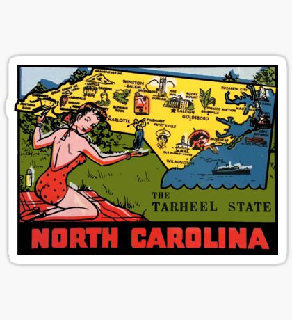 North Carolina NC State Map Vintage Travel Decal Sticker