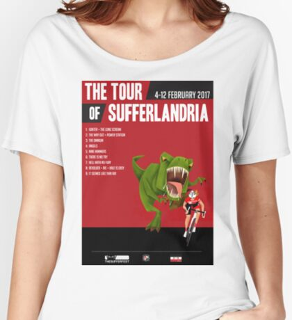 Official Tour of Sufferlandria 2017 Poster - FEMALE Rider Women's Relaxed Fit T-Shirt