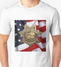 California Highway Patrol - CHP Police Officer Badge over American Flag Unisex T-Shirt