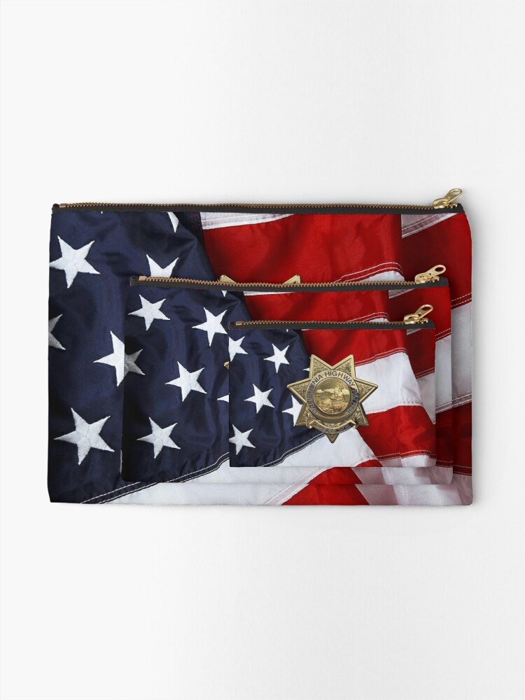 Alternate view of California Highway Patrol - CHP Police Officer Badge over American Flag Zipper Pouch