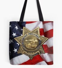 California Highway Patrol - CHP Police Officer Badge over American Flag Tote Bag