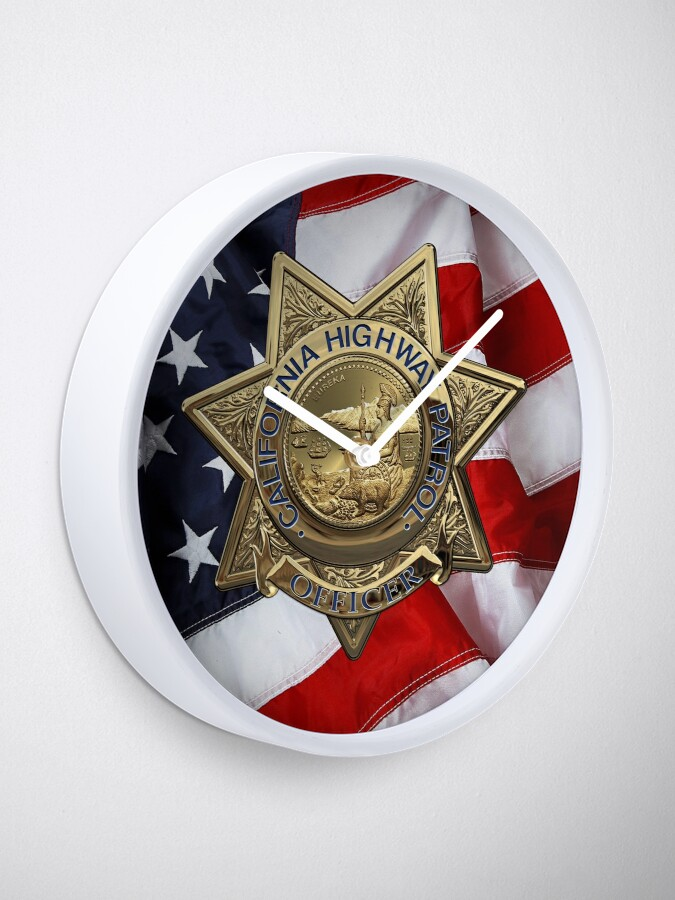 Alternate view of California Highway Patrol - CHP Police Officer Badge over American Flag Clock
