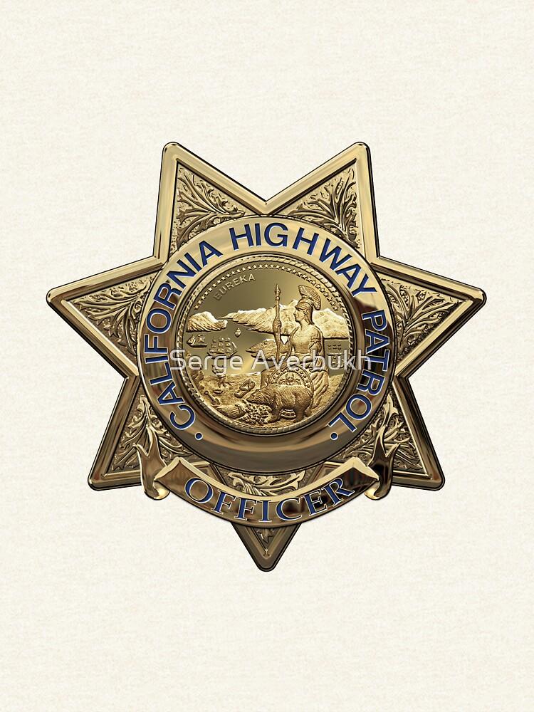 Patrulla de Caminos de California - Placa de Oficial de Policía de CHP sobre Cuero Blanco de Captain7