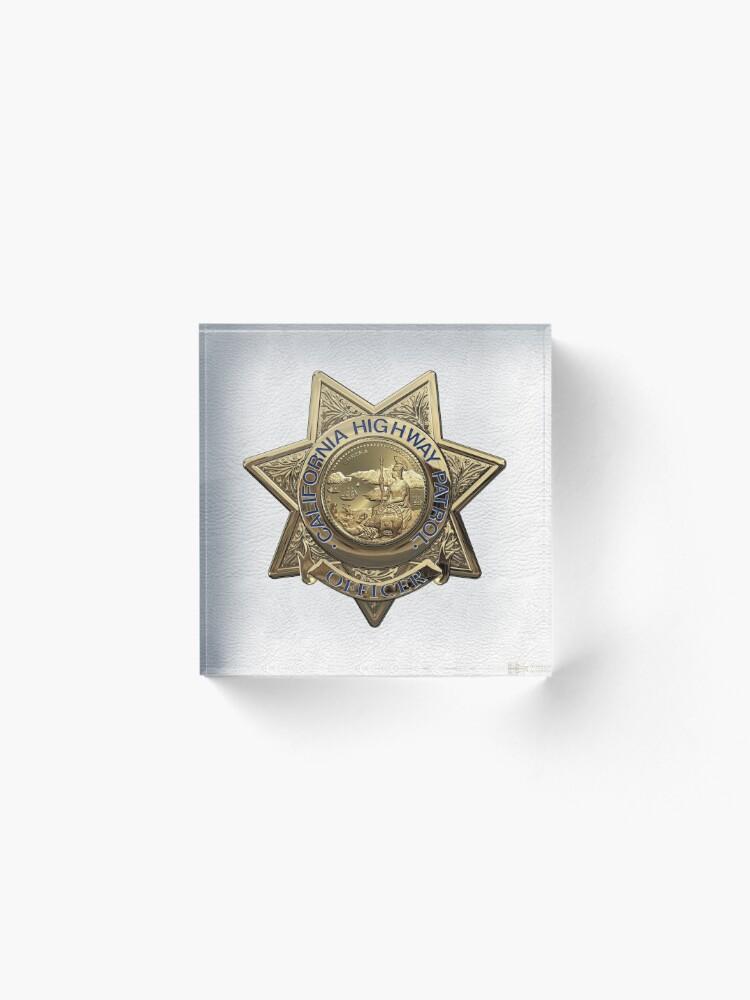 Vista alternativa de Bloque acrílico Patrulla de Caminos de California - Placa de Oficial de Policía de CHP sobre Cuero Blanco