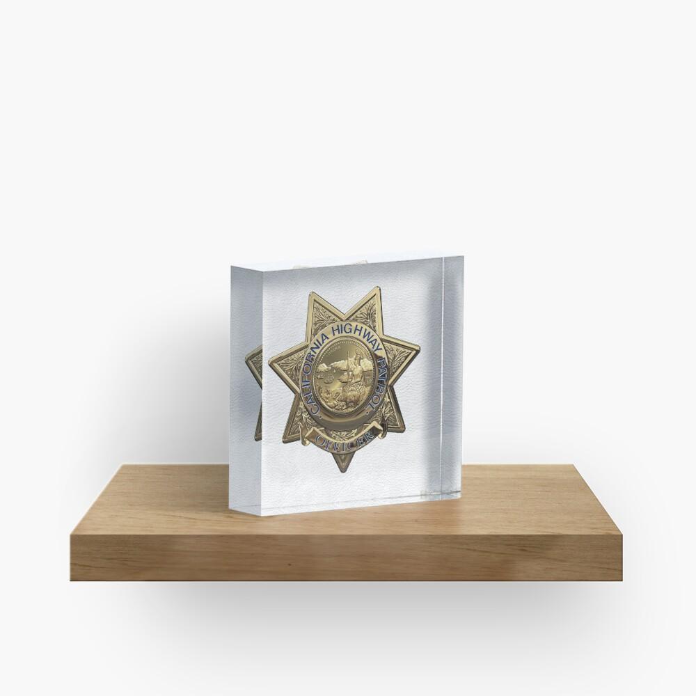 Patrulla de Caminos de California - Placa de Oficial de Policía de CHP sobre Cuero Blanco Bloque acrílico
