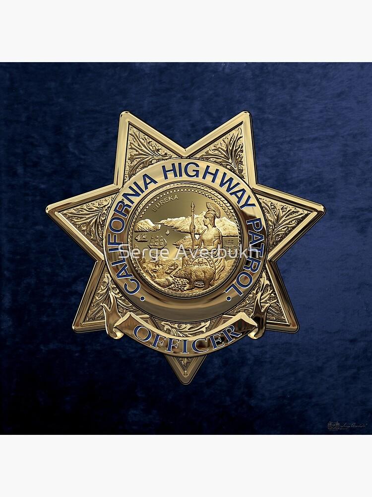 California Highway Patrol - CHP Police Officer Badge over Blue Velvet    Metal Print