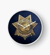 California Highway Patrol - CHP Police Officer Badge over Blue Velvet Clock
