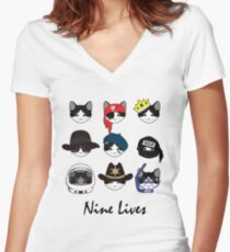 A Cat Living Nine Lives (w/ Text) Women's Fitted V-Neck T-Shirt