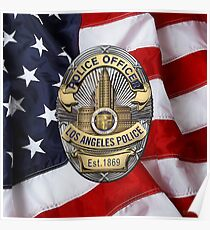Los Angeles Police Department - LAPD Police Officer Badge over American Flag Poster