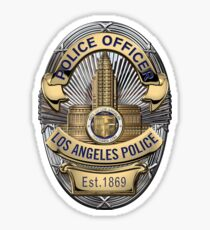 Los Angeles Police Department - LAPD Police Officer Badge over White Leather Sticker