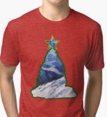 Christmas Tree Snow Scene Tri-blend T-Shirt