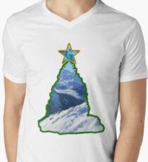 Christmas Tree Snow Scene Men's V-Neck T-Shirt