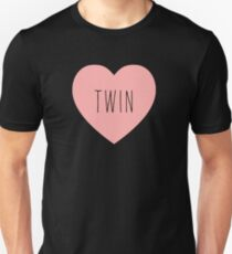 I Love Twin Heart Black Unisex T-Shirt