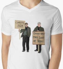 """""""DOWN WITH THIS SORT OF THING...Careful Now""""  Men's V-Neck T-Shirt"""