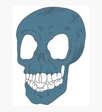 A Blue Skull Photographic Print