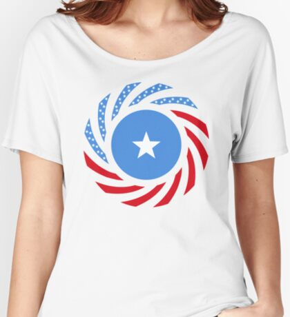 Somali American Multinational Patriot Flag Series Relaxed Fit T-Shirt