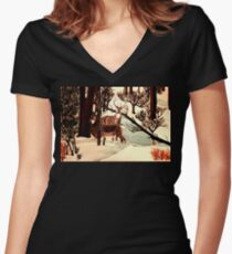 """DEER """"WHO IS THERE?"""" Women's Fitted V-Neck T-Shirt"""