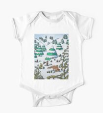 cute fox and rabbits christmas snow scene Kids Clothes