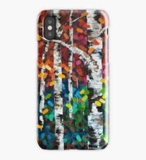 Colourful Autumn Fall Aspen Birch Tree Painting iPhone Case/Skin