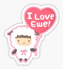 Little Lamb Loves Ewe Cute Pun Humor Sticker
