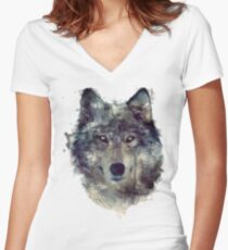 Wolf // Persevere Women's Fitted V-Neck T-Shirt