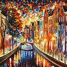 «AMSTERDAM - CANAL NOCTURNO - Leonid Afremov» de Leonid Afremov