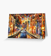 AMSTERDAM - NIGHT CANAL - Leonid Afremov Greeting Card