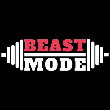 Beast Mode Fitness Gym Workout Red And White by GreensDream