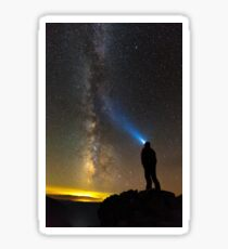 Silhouette of a man looking at stars Sticker