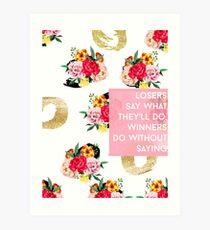 Verlierer und Gewinner / Goldfolie Blumenmuster Rosa Aquarell # redbubble #sticker #abdrücke Kunstdruck