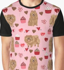 Pomeranian valentines day love hearts cupcakes pattern cute puppy dog breeds by pet friendly by PetFriendly Graphic T-Shirt