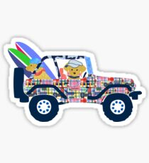 Preppy Madras Jeep Yellow Lab - Nantucket Vacation Sticker