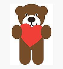 Teddy Bear Heart Photographic Print