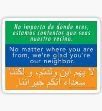 Welcome Your Neighbors (Arabic, English, Spanish) Sticker