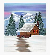 Cabin in the Woods - Black Labrador Photographic Print
