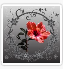 Red hibiscus with floral frame Sticker