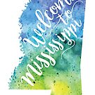Mississippi Watercolor Map - Welcome to Mississippi Hand Lettering by Andrea Hill