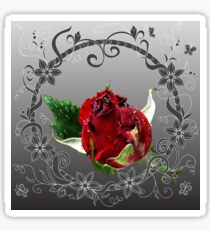 Rain red rose into floral frame Sticker