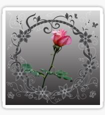 Red rose into floral frame Sticker