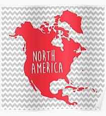 North America Chevron Continent Series Poster