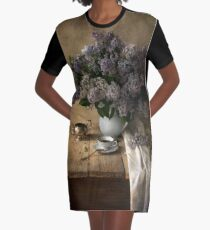 Still life with bouquet of fresh lilac Graphic T-Shirt Dress