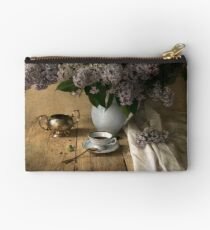 Still life with bouquet of fresh lilac Studio Pouch