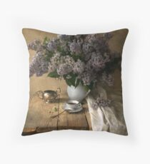 Still life with bouquet of fresh lilac Throw Pillow