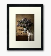 Still life with bouquet of fresh lilac Framed Print