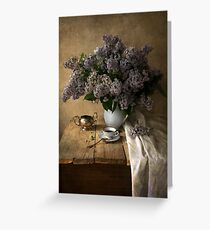 Still life with bouquet of fresh lilac Greeting Card