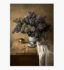 Still life with bouquet of fresh lilac Photographic Print